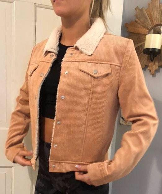 Pink Trendy Corduroy Jacket