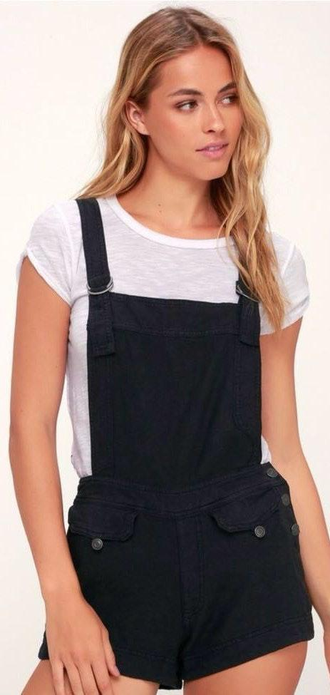 Free People Black Overall Shorts