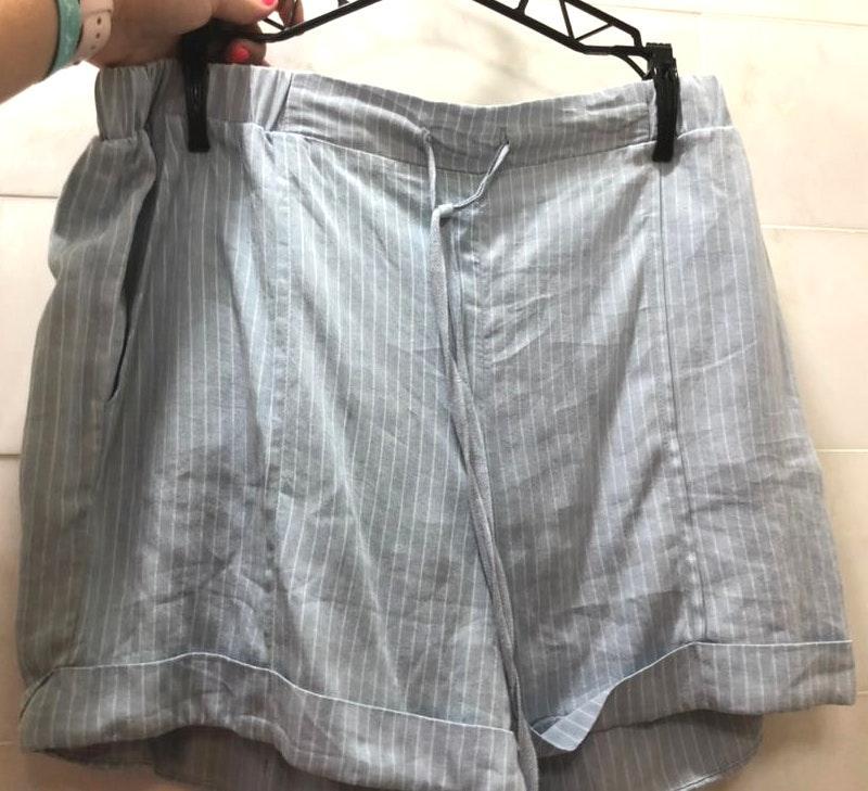 Ellison light blue vertical striped loose shorts