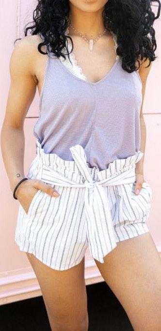 Lela sky Lizard Thicket Striped Tie Shorts