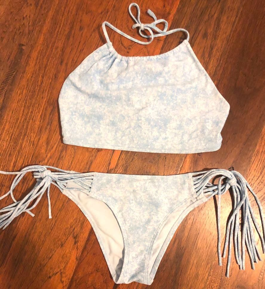 Aerie Sky Blue And White Halter And Fringe Bikini