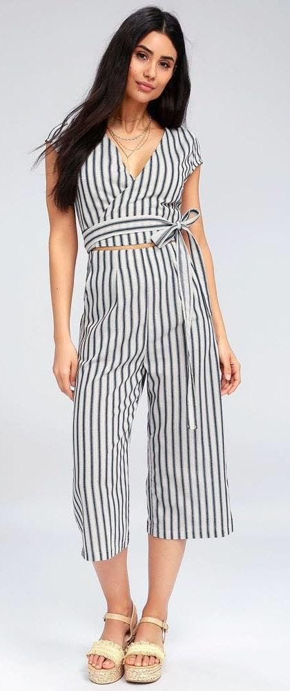 Lulus Blue And White Striped Wrap Jumpsuit