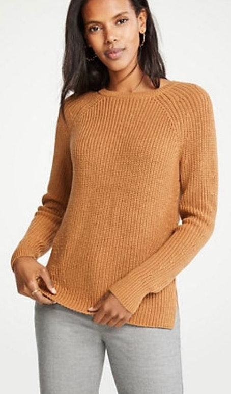 Ann Taylor Crew Neck Camel Sweater