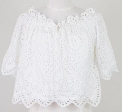 Impeccable Pig White Eyelet Off The Shoulder Top