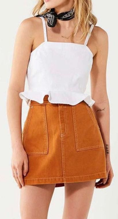 Urban Outfitters White Denim Tank Top