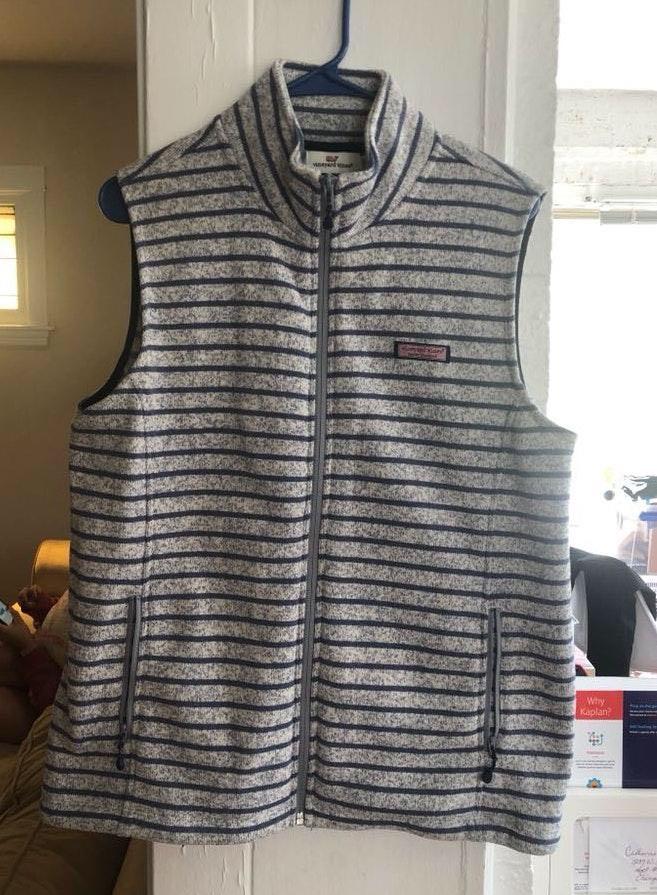 Vineyard Vines Gray And Navy Striped Vest