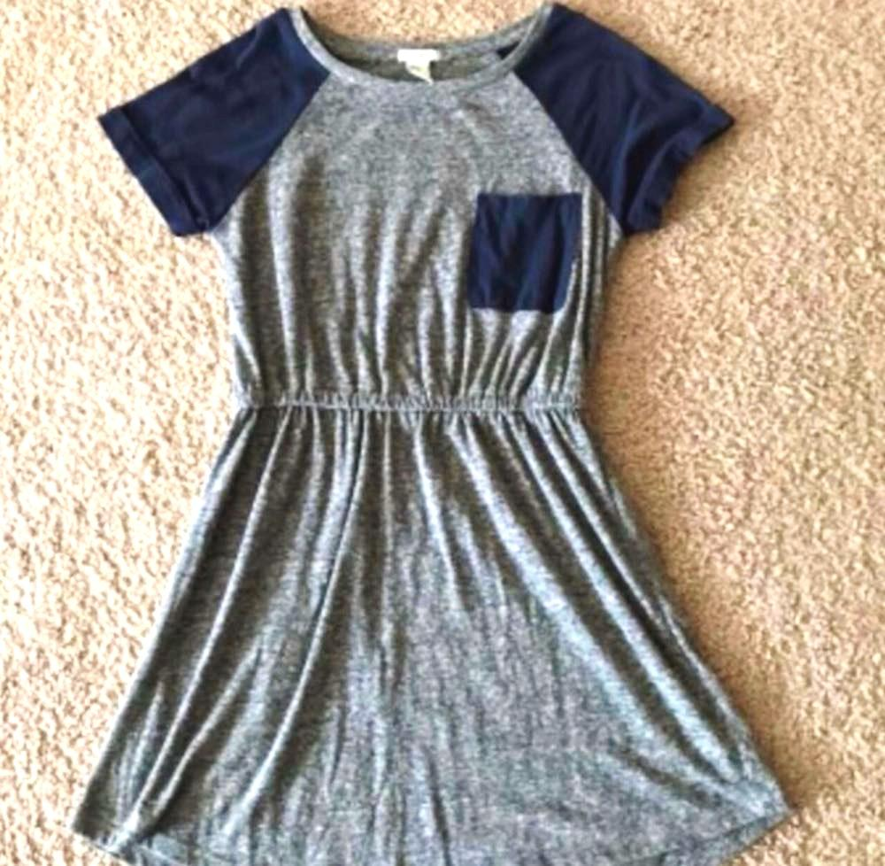 bfc1dbe58233 Forever 21 Blue And Grey Tshirt Dress
