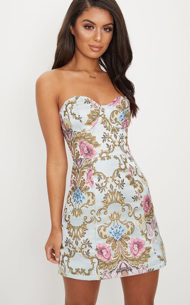Pretty Little Thing dusty blue baroque print dress