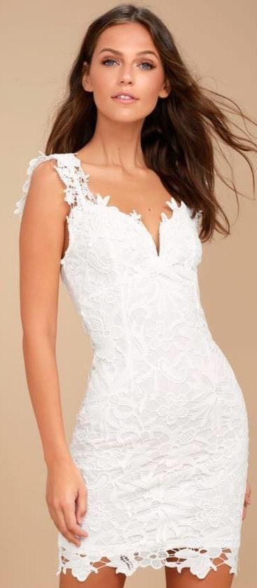 Lulus White Lace Bodycon Dress
