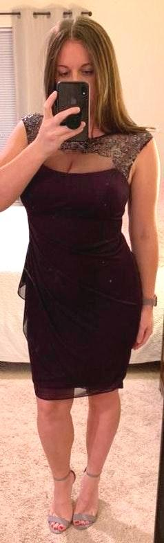 David's Bridal Purple Bridesmaid Dress