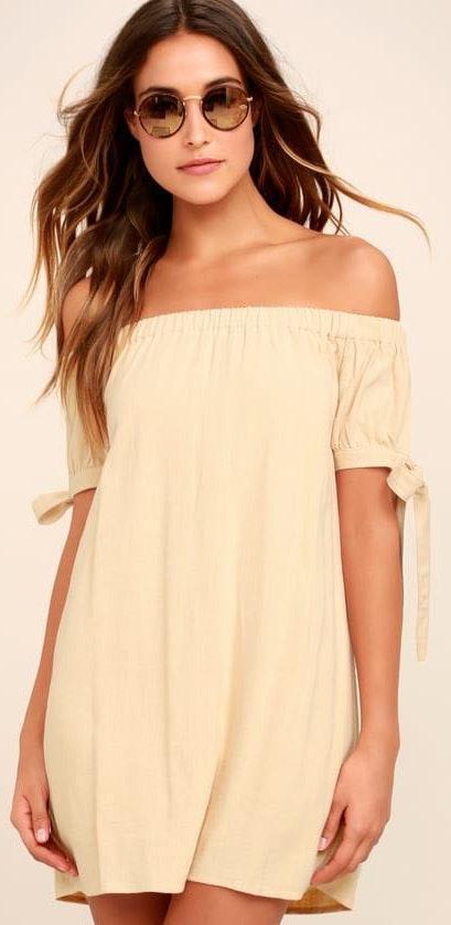 Lulus Beige Off The Shoulder Dress