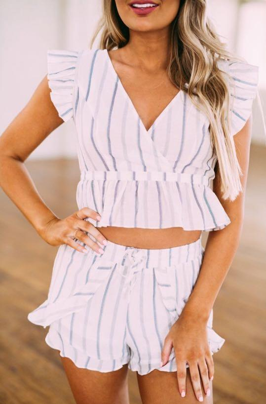 These Three Boutique NWT Seaside Striped Shorts Set