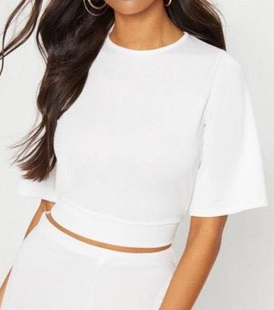 Pretty Little Thing White Crop Blouse
