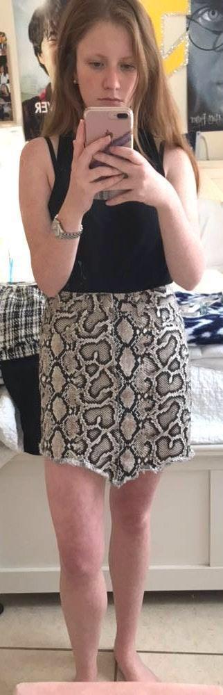 ZARA Snake Print Denim Skirt
