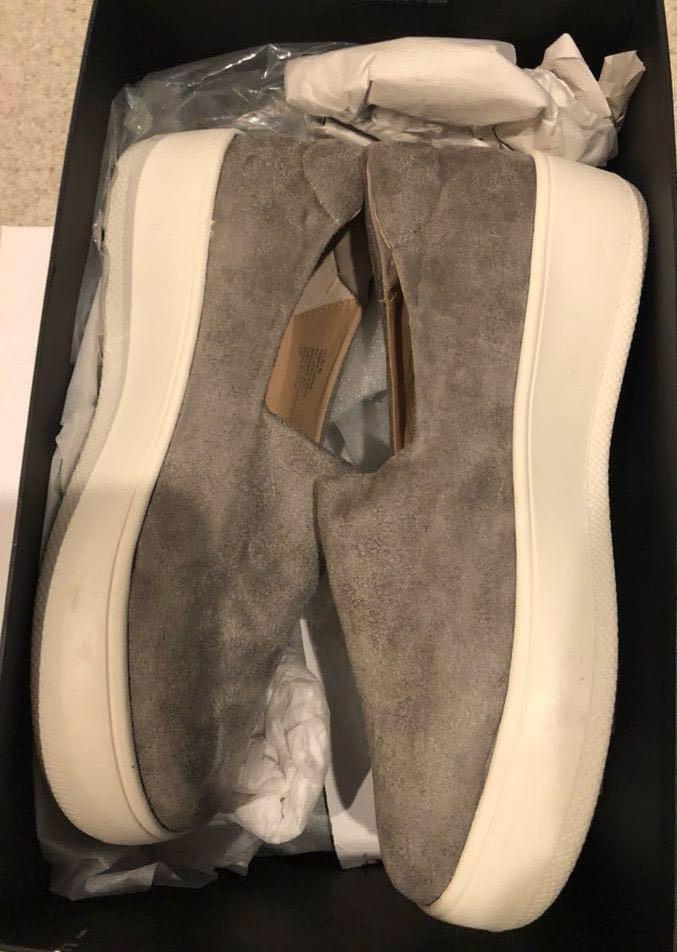 Steve Madden grey suede slip on sneakers