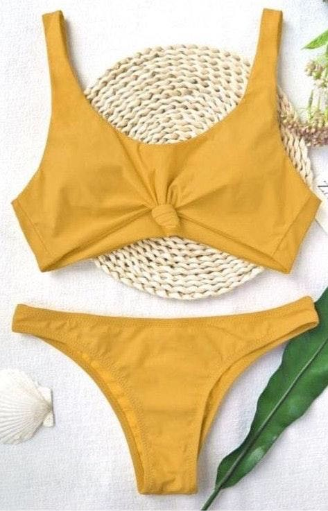 Zaful Knotted Scoop High Cut Bathing Suit