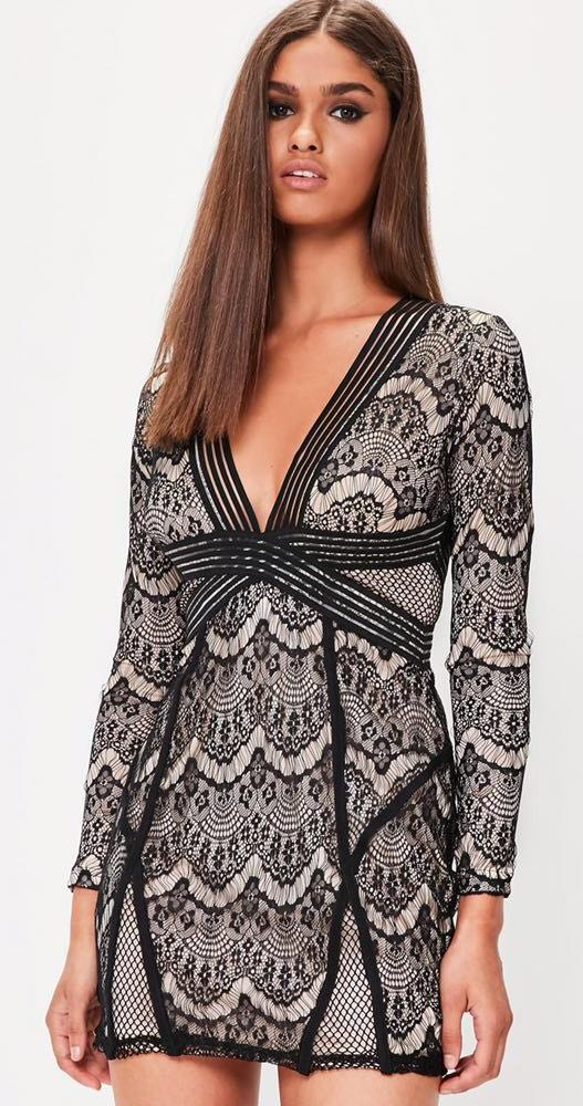 7e59f67814de We re the buy sell app for cute clothes. Say to being bored of your  clothes. Home Missguided Black Lace Deep V Bodycon Dress