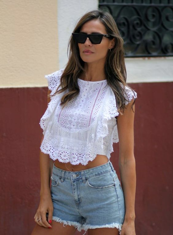Free People White Floral Top