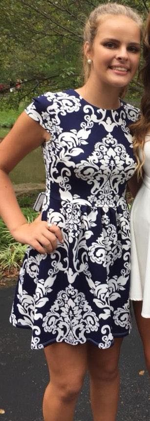 B Darlin blue and white patterned dress