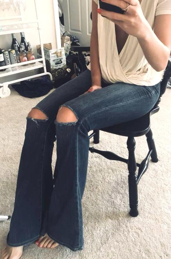 Paige Ripped Flare Jeans