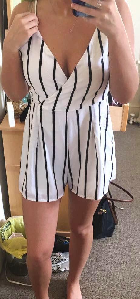Boohoo Black & White Striped Surplice Romper