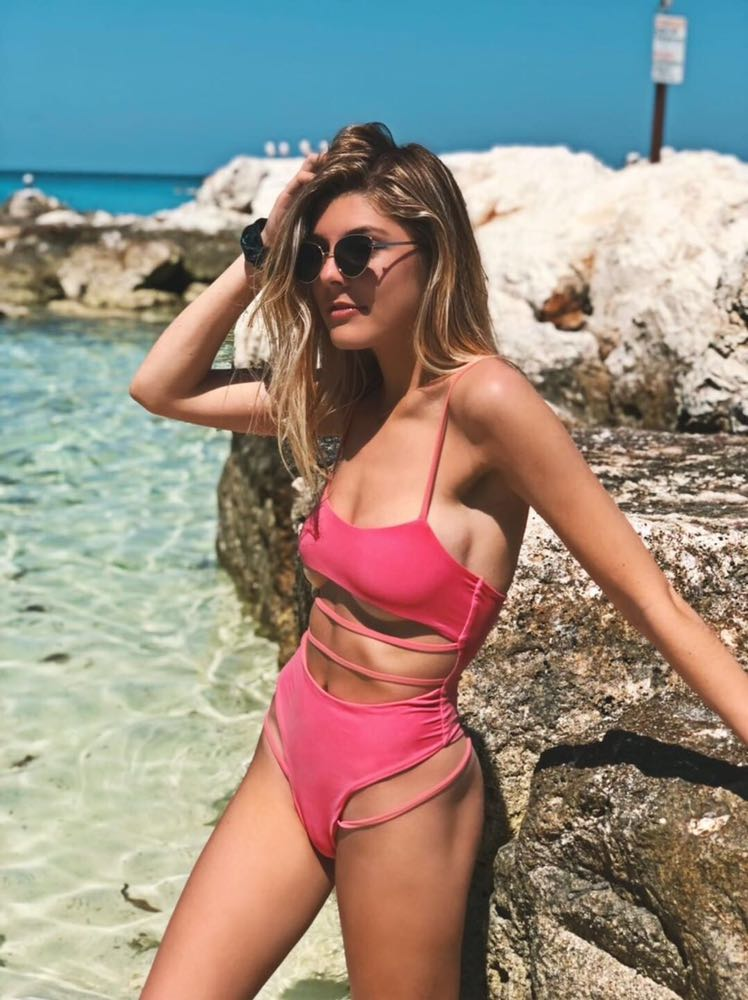 Oh Polly Pink Cut Out One Piece Bathing Suit