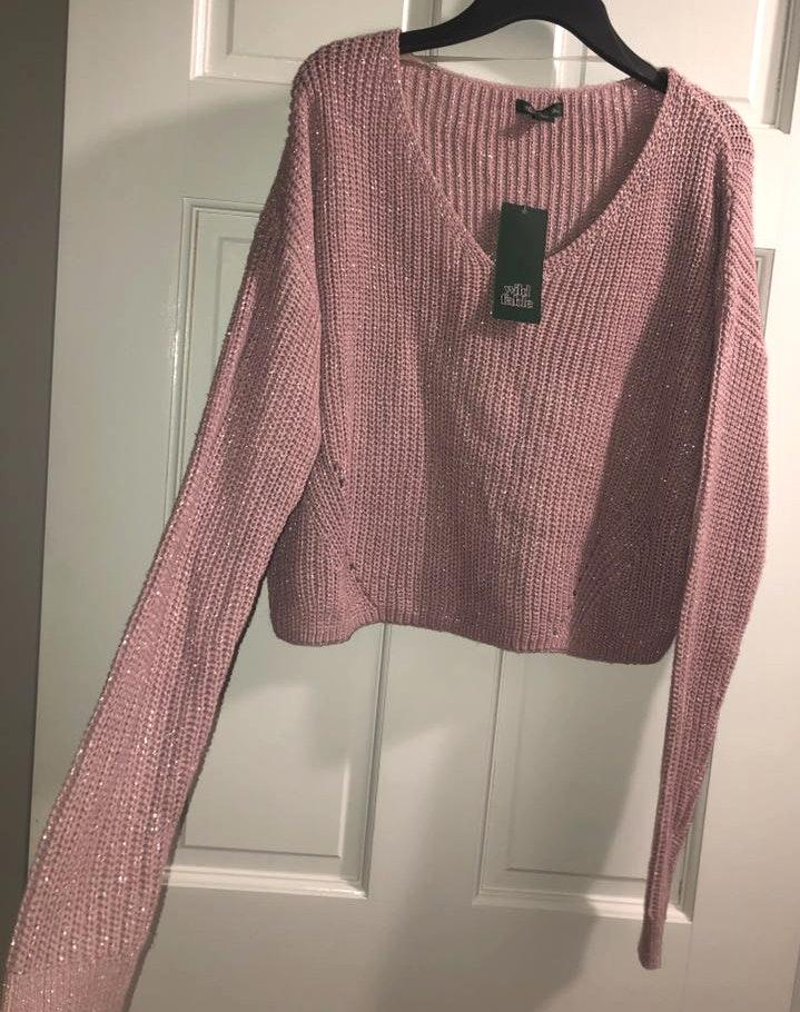 Wild Fable Purple Sparkle Cropped Sweater