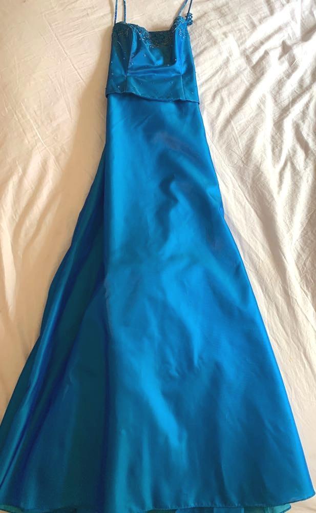 David's Bridal Blue Embroidery Maxi Dress