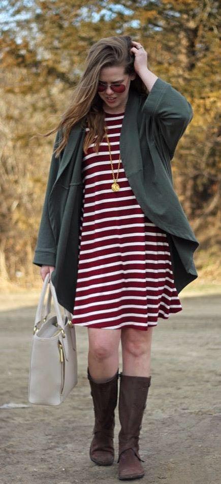 Long Sleeved Striped Swing Dress