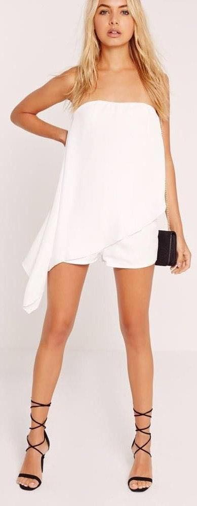 Missguided Strapless Asymmetrical Romper