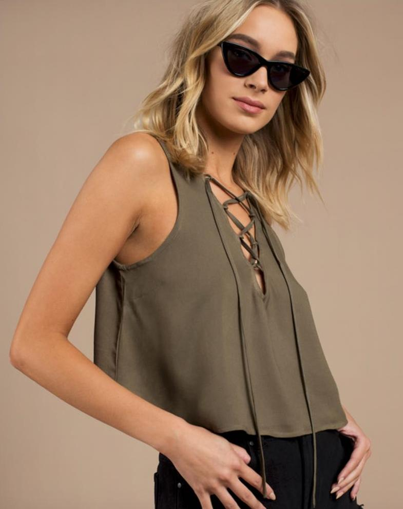 Tobi Green Lace Up Top