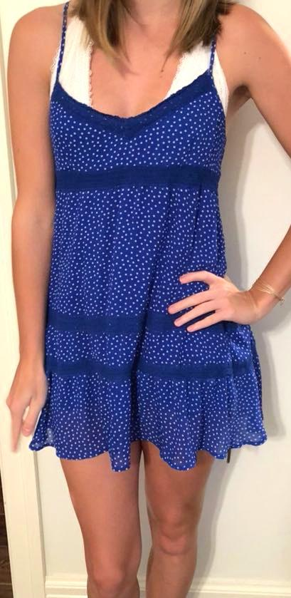 c8a5d569f0 We re the buy sell app for cute clothes. Say to being bored of your  clothes. Home Abercrombie   Fitch Blue Sundress With White Polka Dots