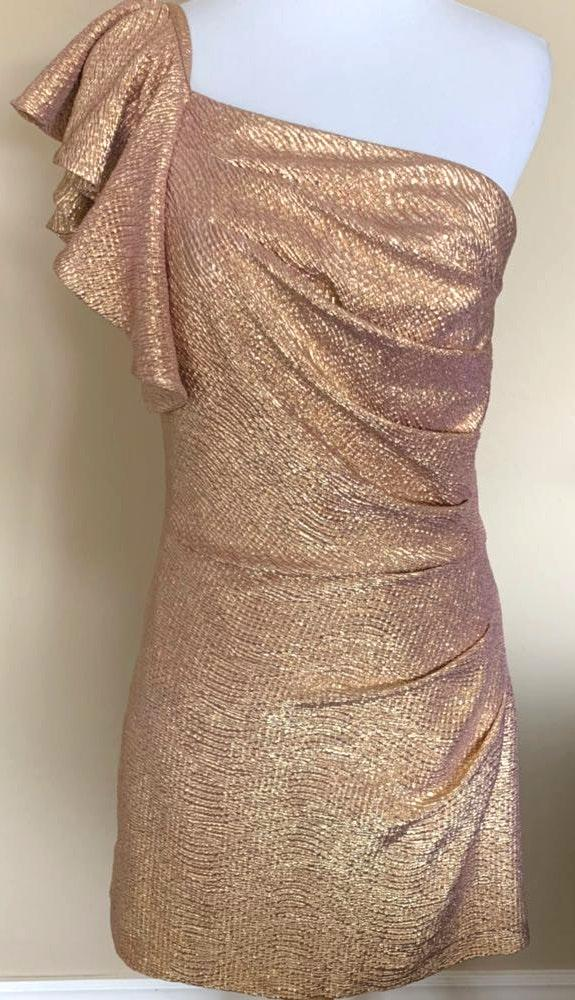 Arden B Metallic Gold Pebbled One Shoulder Formal Dress