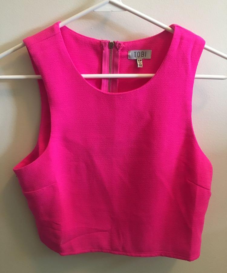 Tobi Neon Pink Crop Top
