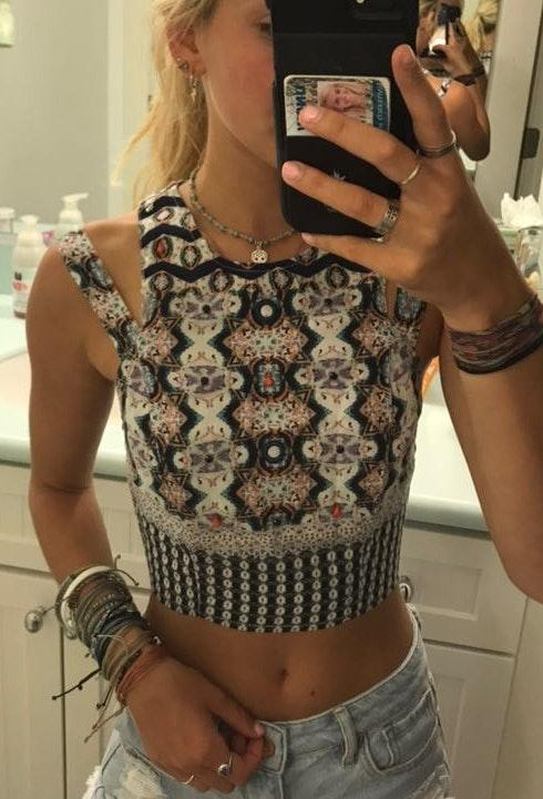 Kendall & Kylie Printed Crop Top