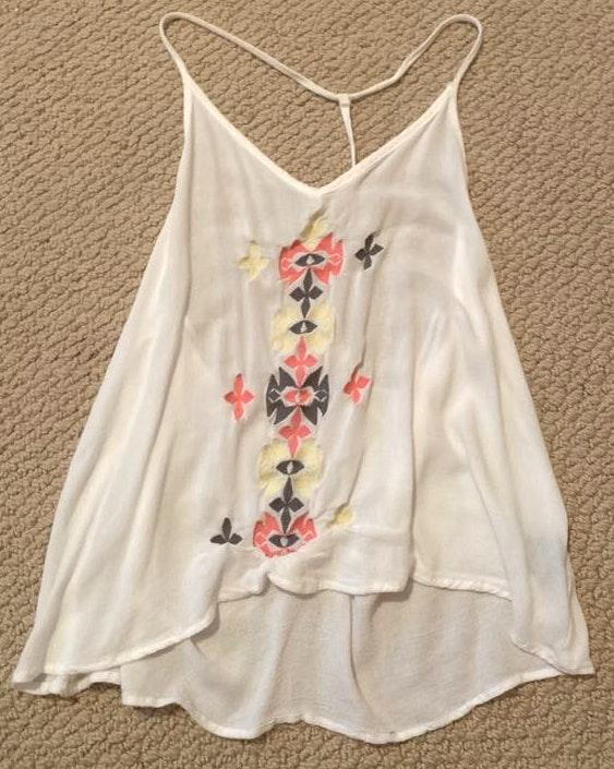LA Hearts White racer back tank