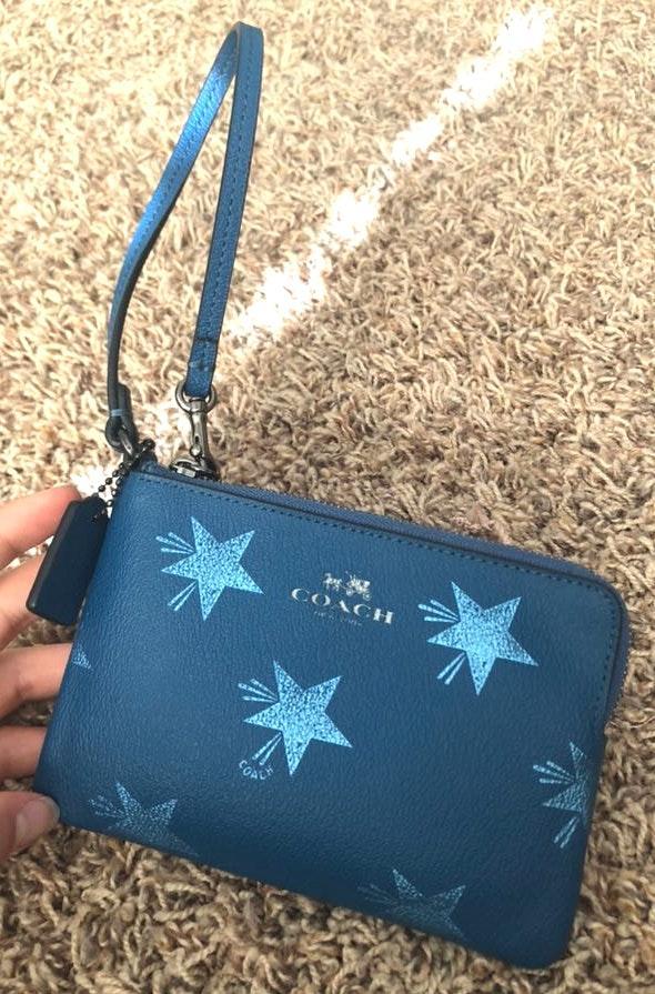 Coach blue star wristlet