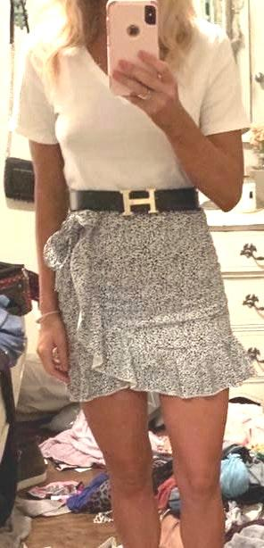 Boutique White And Black Leopard Print Skirt