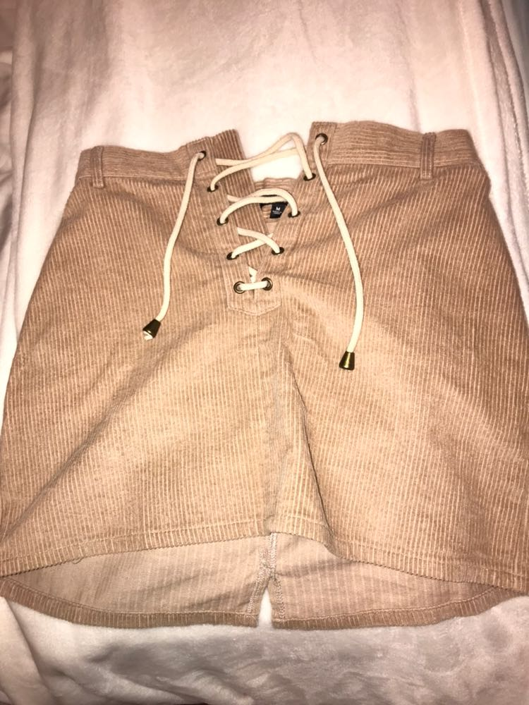 Kendall & Kylie Lace Up Corduroy Skirt