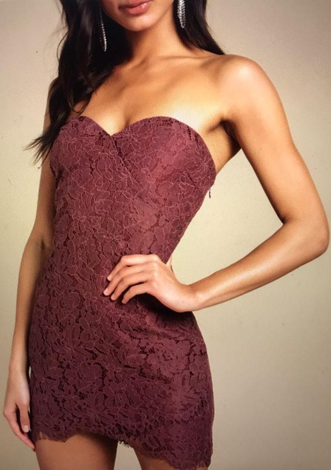 Tobi Burgundy Lace Dress