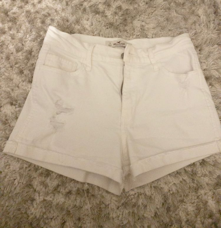 Hollister High Rise Distressed White Shorts