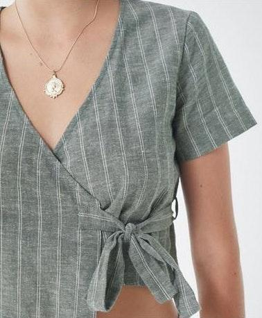 Urban Outfitters Cropped striped wrap top