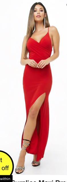 Forever 21 Split Front Surplice Maxi Dress