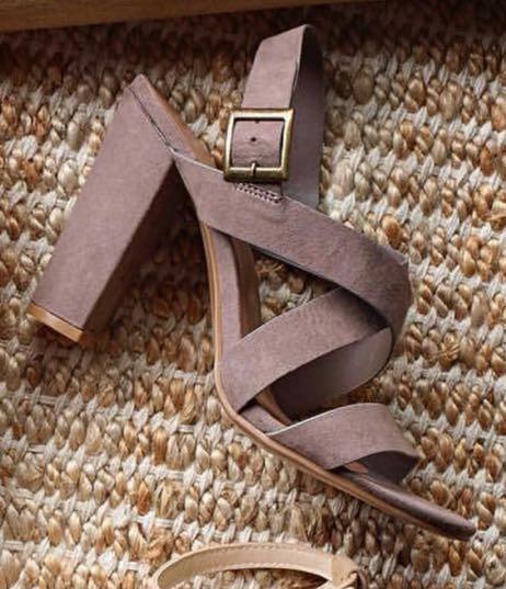 Bamboo Grey Suede-ish Criss-Cross Heels