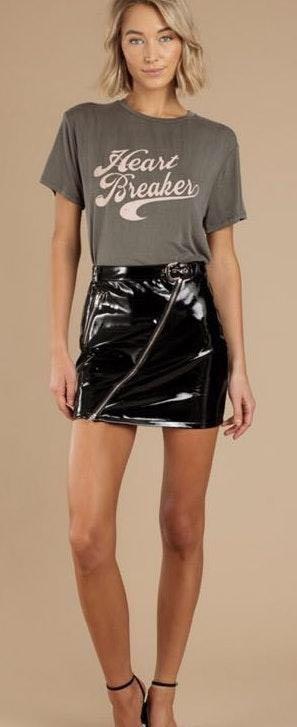 Tobi Black Faux Patent Leather Mini Skirt