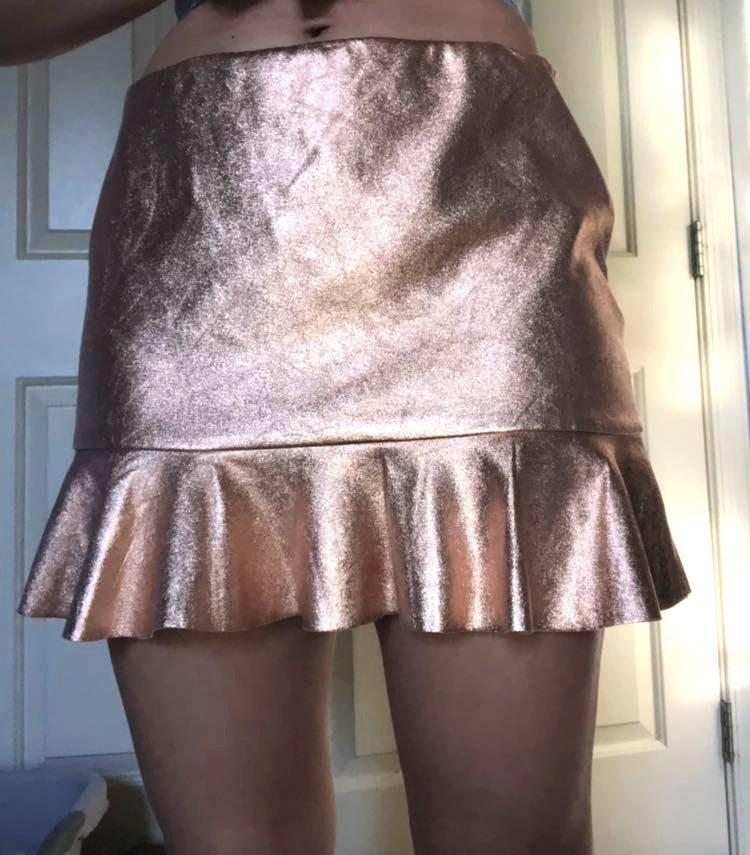 ZARA Rose Gold Metallic Skirt