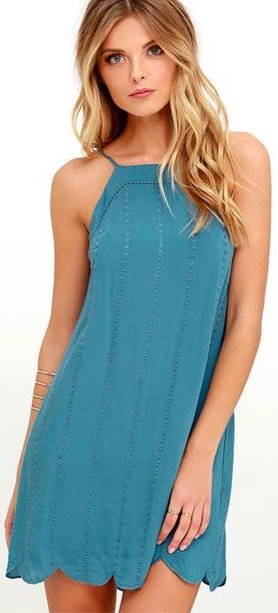 Lulus Country Road Blue Embroidered Dress