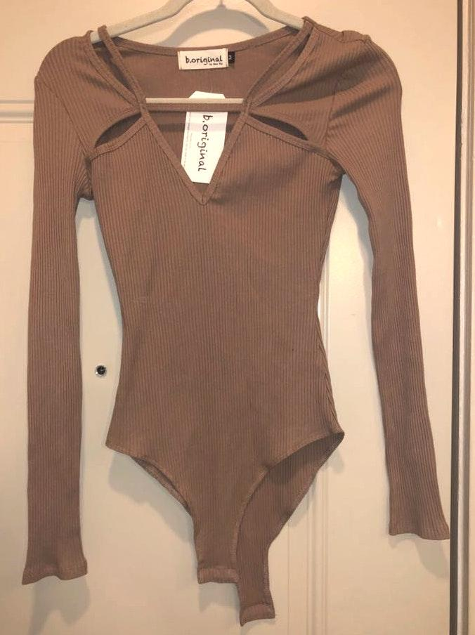 B.Original Brown Cut Out Bodysuit