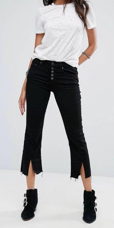 Free People Black Button Fly Flare Jeans With Ankle Slit