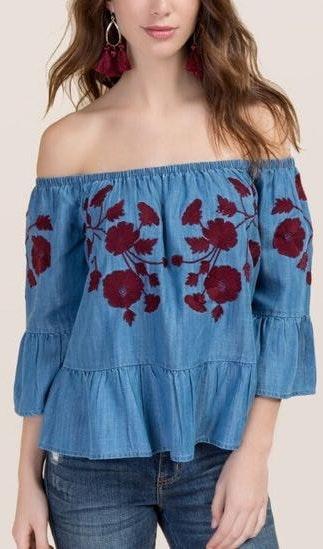 Blue Rain Blue Jean Off The Shoulder Blouse W Floral Embroidery